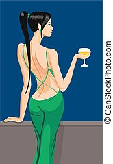 cirl lady standing on the balcony with a glass of champagne...