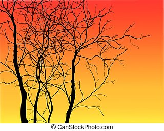 Illustration of tree silhouette-Vector illustration
