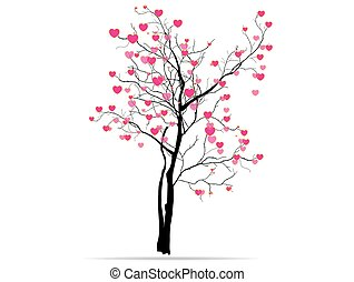 love tree having heart shapes in red and pink color on white...