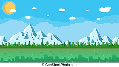 landscape with snowy mountains and trees - abstract summer...