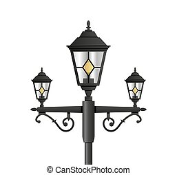 Light pole street lamp close up on white background vector...