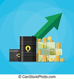 dollars and coins, oil barrel chart graph arrow up - Stack...