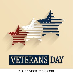 Veterans Day poster Red, white and blue stars Vector...