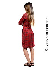 back view of standing young beautiful woman. - back view of...