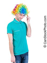 Portrait of man in a clown wig - Portrait of a man in a...