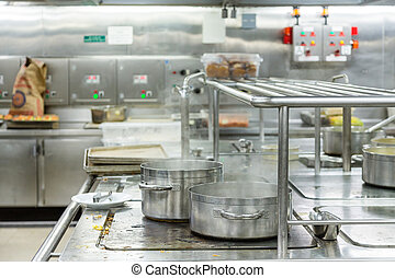 Pots Boiling in Commercial Kitchen - Two Pots Boiling in...