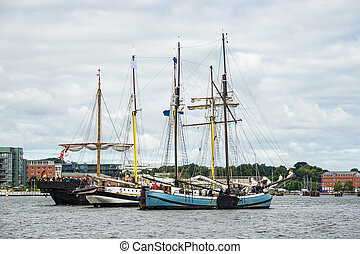 Sailing ships on the Hanse Sail in Rostock Germany