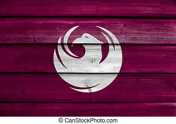 Flag of Phoenix, Arizona, USA, painted on old wood plank background