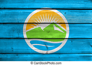 Flag of Provo, Utah, USA, painted on old wood plank background