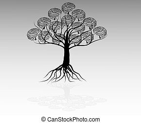 Brain tree illustration, tree of knowledge