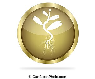 Three Dimensional circle button with tree icon  golden, vector illustration