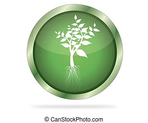 Three Dimensional circle button with tree icon, vector illustration