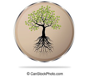 circle button with tree icon, vector illustration