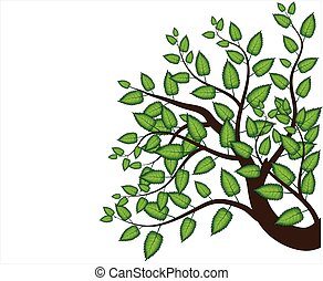 decorative branch tree and green leaves, white background