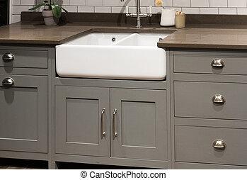 Gray Kitchen Sink - Grey Gray Luxury Bespoke Kitchen Sink
