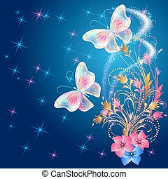Transparent butterflies with floral ornament and firework -...