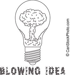 Lamp Bulb with nuclear explosion inside. Blowing Idea. Flat symbol. EPS 8