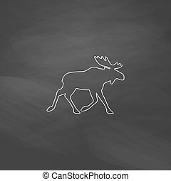 Moose computer symbol - Moose Simple line vector button....