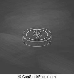 Casino chip computer symbol - Casino chip Simple line vector...
