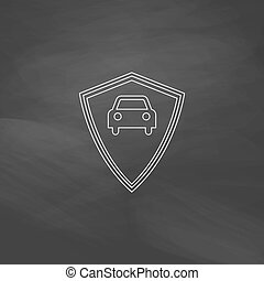 Car guard computer symbol - Car guard Simple line vector...