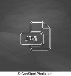 JPG computer symbol - JPG Simple line vector button...