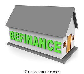 House Refinance Shows Equity Mortgage 3d Rendering - House...