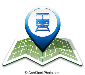 Train Map Indicates Intercity Journey 3d Illustration -...