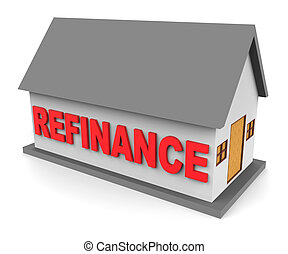House Refinance Shows Equity Loan 3d Rendering - House...