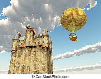 Scottish castle and fantasy hot air balloon - Computer...