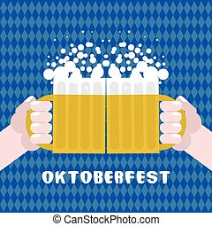 Sharing drinking beer. Two men holding cups with alcohol. Poster for Oktoberfest. National Traditional Festival in Germany