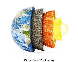 Layers of earth. 3D illustration - Layers of earth isolated...