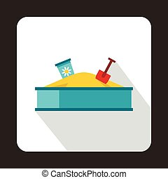 Sandbox icon, flat style - Sandbox icon in flat style...
