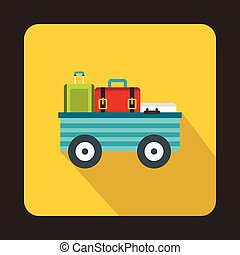 Luggage cart with suitcases icon, flat style - Luggage cart...