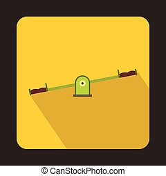 Seesaw icon, flat style - Seesaw icon in flat style isolated...