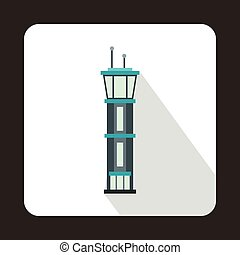 Airport control tower icon, flat style