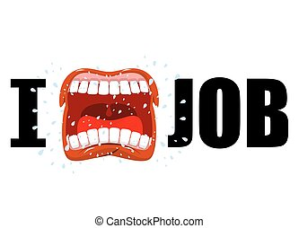 I hate job. shout symbol of hatred and antipathy. Open mouth. Flying saliva. Yells and strong scream. Emblem of hatred of his work
