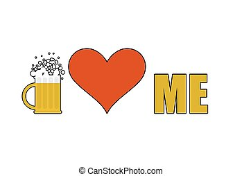 Beer loves me. Heart symbol of adoration. Mug of beer with alcohol. Logo for alcoholics