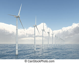 Offshore wind turbines - Computer generated 3D illustration...