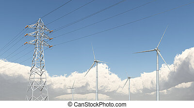 Wind turbines and overhead power line - Computer generated...