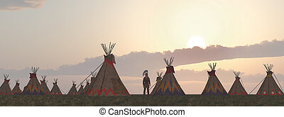 Indian camp at dusk - Computer generated 3D illustration...