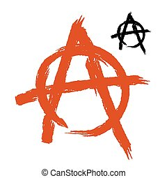 Anarchy Symbol grunge style. Sign of disorder and chaos....