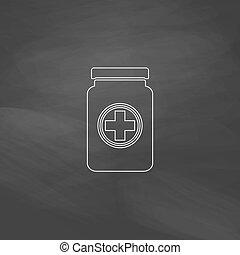 Medicina, botella, computadora, símbolo