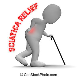 Sciatica Relief Means Spinal Pain Easing 3d Rendering -...