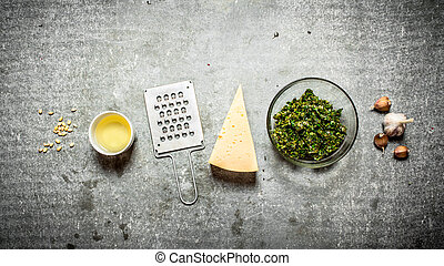 Ingredients for pesto On the stone table