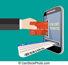 Online tickets ordering concept.