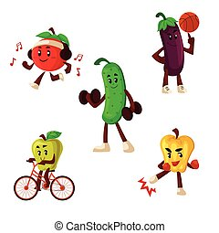 Fruits and vegetables doing sport exercises, cartoon style...