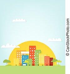 Colorful city. Urban landscape
