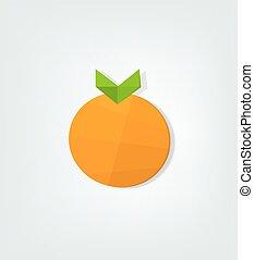 flat orange fruit. low poly