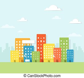 Colorful city. Urban landscape