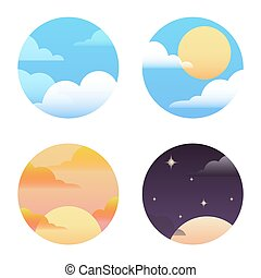Set of round icons on the weather. Vector element for your...